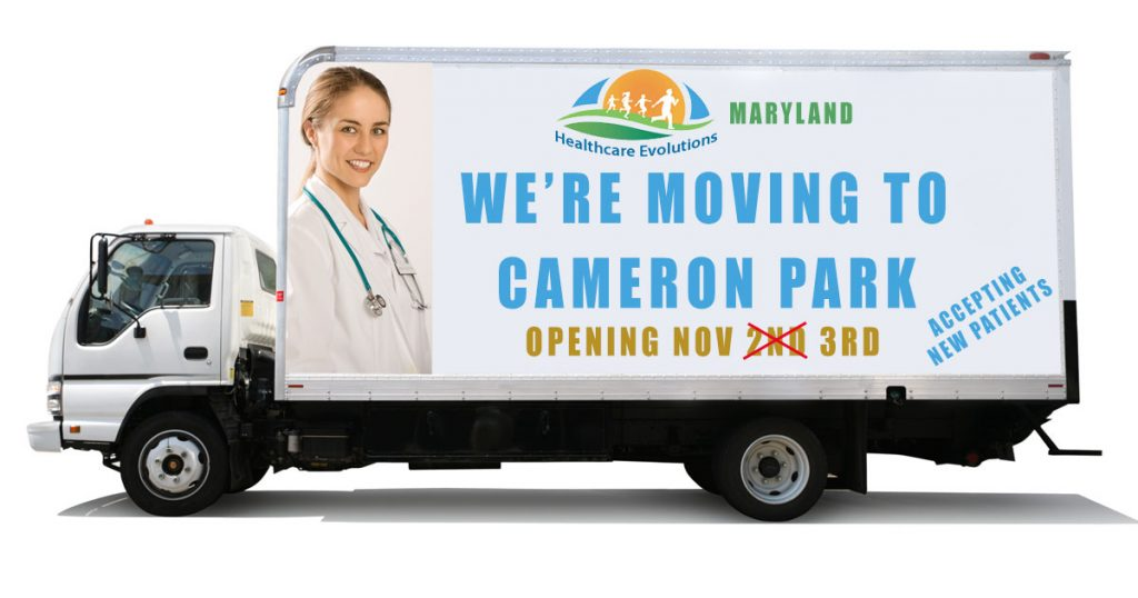 Truck advertising Maryland clinic move to Cameron Park 3rd November 2020