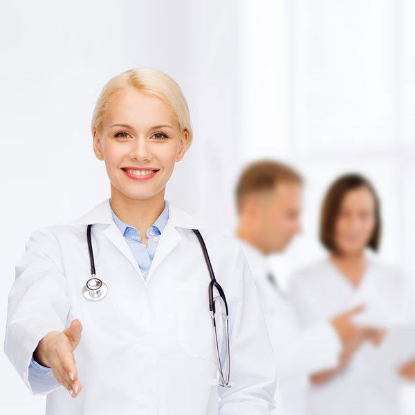 Doctor extending hand to greet